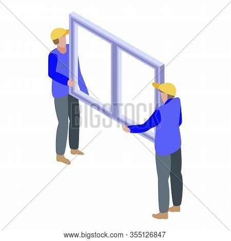 Install Window Icon. Isometric Of Install Window Vector Icon For Web Design Isolated On White Backgr