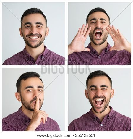 Handsome Customer Portrait Set With Different Gestures And Facial Expressions. Happy, Shouting, Laug