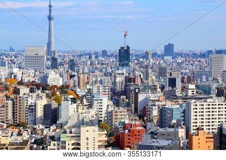 Tokyo, Japan - November 29, 2016: Aerial View Of Bunkyo Ward In Tokyo. Tokyo Is The Capital City Of