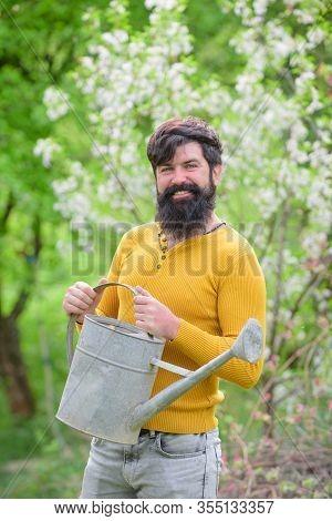Farm. Gardener Work. Farmer Working In Garden. Work In Garden. Spring. Smiling Man Preparing To Plan