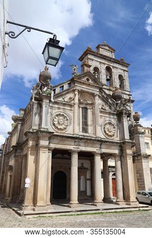 Renaissance Architecture In Evora Town, Portugal. Unesco World Heritage Site. Church And Convent Of
