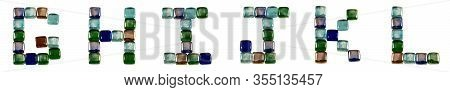 Isolated Font English Or Latin Alphabet G-l Made Of Glass Decorative Squares