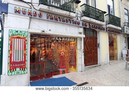 Lisbon, Portugal - June 5, 2018: Quirky Local Shop With Canned Sardines In Lisbon. Portugal Is Famou