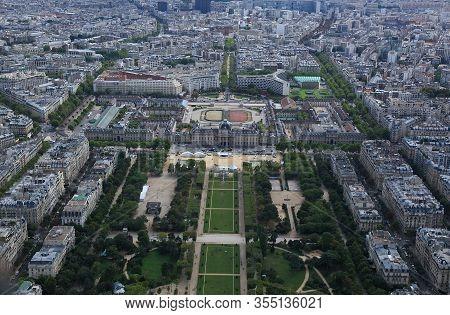 View Of Paris Out Of Eiffel Towel, Down The Champs De Mars, Paris, France.