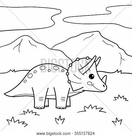 Cartoon Dinosaur Triceratops. Kawaii Vector Character. Coloring Page Or Book For Children.
