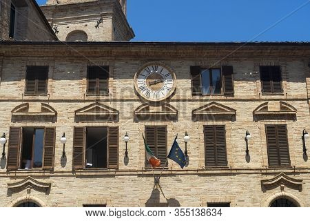 Monte Giberto, Fermo, Marches, Italy: Medieval Village. Facade Of Historic Buildings. The Townhall