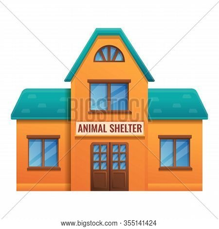 Animal Shelter House Icon. Cartoon Of Animal Shelter House Vector Icon For Web Design Isolated On Wh