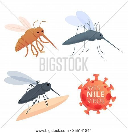West Nile Virus Icons Set. Cartoon Set Of West Nile Virus Vector Icons For Web Design