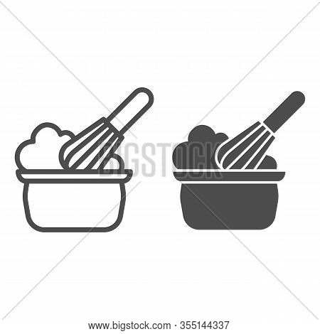 Manual Stirring Line And Solid Icon. Whipping Cream Proces, Whisk And Bowl Symbol, Outline Style Pic