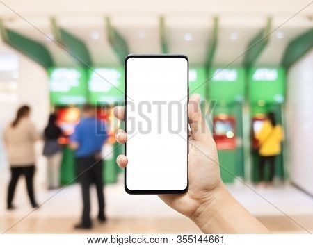 Mockup Cellphone, Hand Using Smart Phone With Empty Blank Screen With Blurred Image Of People Using