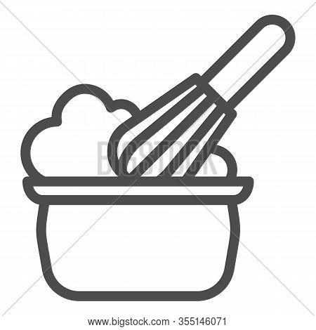 Manual Stirring Line Icon. Whipping Cream Proces, Whisk And Bowl Symbol, Outline Style Pictogram On