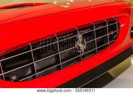 Modena, Italy - April 2015: Museum  Enzo Ferrari Modena. Red Ferrari 575 Superamerica 2005 With The