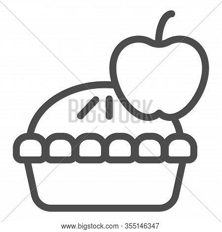 Apple Pie Line Icon. Fruit Dessert Tart, Sweet Baked Cake Symbol, Outline Style Pictogram On White B