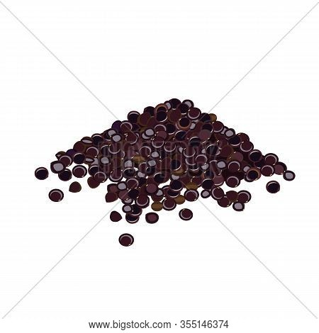 Heap Of Black Quinoa Seeds On White Background. Vector Illustration