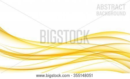Abstract Background With Gold Waves. Abstract Digital Gold Gradient Waves. White Background. Shiny G