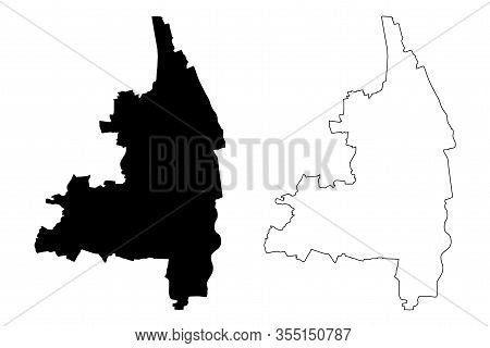 Augsburg City (federal Republic Of Germany, Bavaria) Map Vector Illustration, Scribble Sketch City O