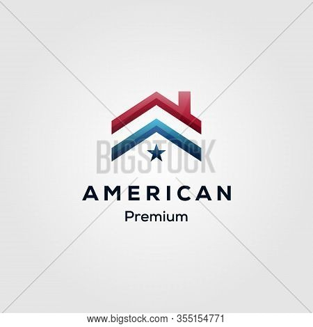 American Flag House Premium Mortgage Logo Vector