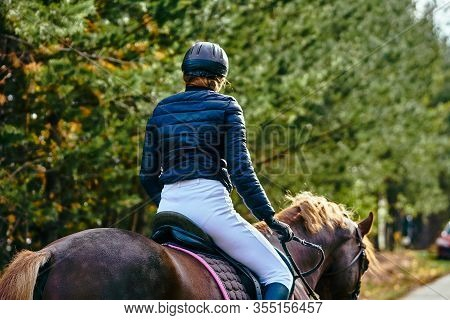 A Young Woman Rider In A Black And White Costume On A Brown Horse Is Preparing To Participate In Equ