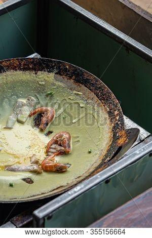 Vietnamese Sizzling Shrimp Pancake At Street Food Hawker- Banh Xeo