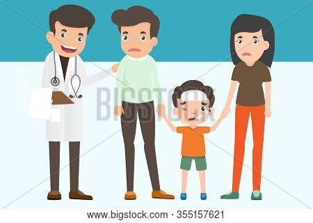 Cute Family Visiting The Doctor. Father Mother And Son In Doctor's Office. Health And Medical Concep