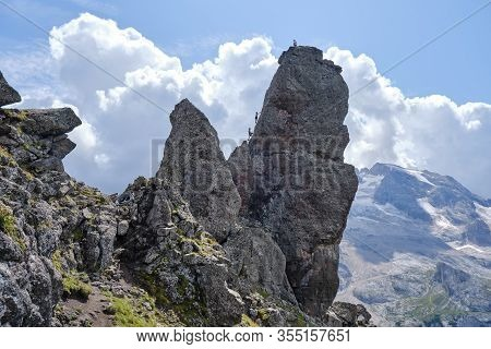 Rock Towers On Via Ferrata Delle Trincee (meaning Way Of The Trenches), Padon Ridge, Dolomites Mount