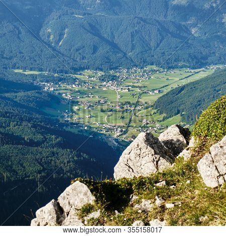 Gosau Village And Valley In Austria, Surrounded By Green Forests - View From A Via Ferrata Route In