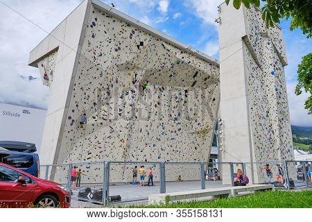 Innsbruck, Austria - August 18, 2019: Climbing Wall At Ki - Kletterzentrum Innsbruck.