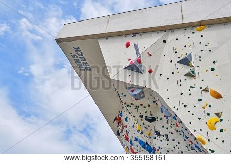 Innsbruck, Austria - August 18, 2019: Ki - Kletterzentrum Innsbruck (climbing Center Innsbruck). Top