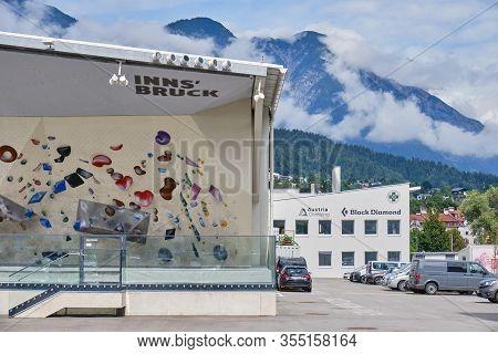 Innsbruck, Austria - August 18, 2019: Outside Bouldering Section Of Ki - Kletterzentrum Innsbruck (c