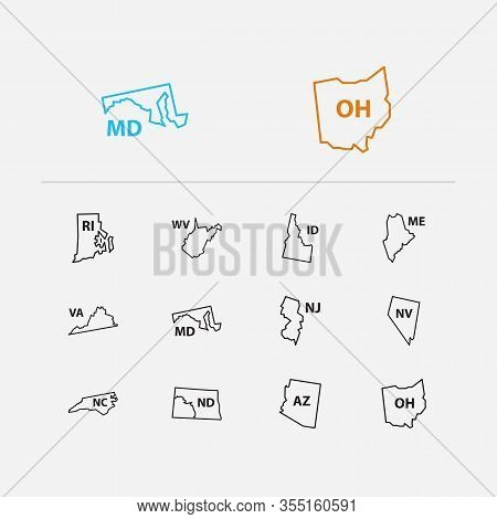 Geography Icons Set. Journey And Geography Icons With Cartography, Maine And Arizona. Set Of Ohio Fo