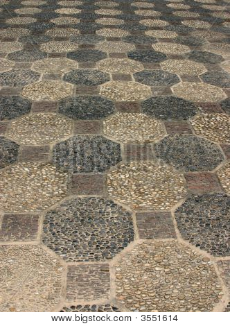 octagon pattern mosaic made from small stones. Suitable for background use. poster