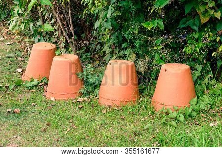Terracotta Flower Pots In Garden Front Or Back Yard. Mud Clay Ceramic Pottery Planter Flower Pots Wi