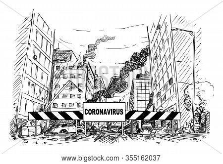 Vector Cartoon Stick Figure Drawing Conceptual Illustration Of Quarantine Area Roadblock Blocking De