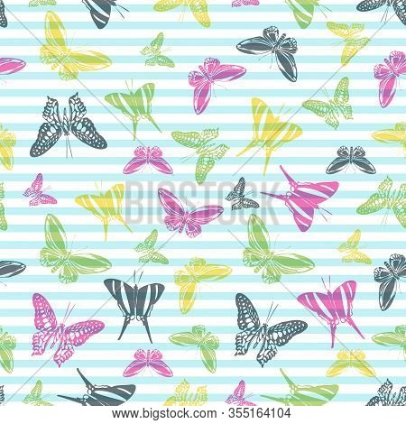 Flying Creative Butterfly Silhouettes Over Horizontal Stripes Vector Seamless Pattern. Girlish Fashi