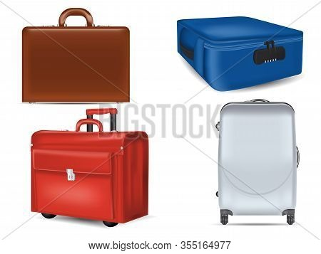 Realistic Travel Suitcases Mockups Set. Brown Leather Briefcase, Wheeled Red Suitcase, White Plastic