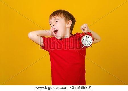 Screaming Boy With Alarm Clock. Seasonal Discounts, Sale Concept. Shocked Kid Holding Clock, Over Ye