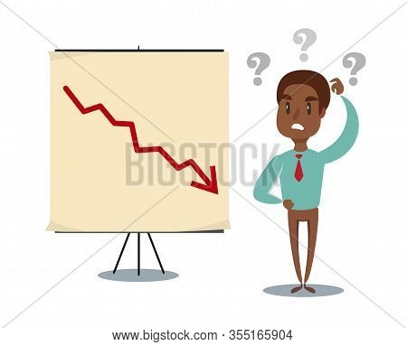Shocked Man In A Suit Watch On The Board With A Declining Arrow. Falling Indicator Of Economic Prosp