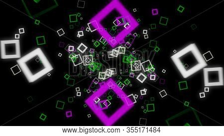Futuristic Background Of Cubic On Black Background. Animation. Neon Square Frames Spread Out With Hy