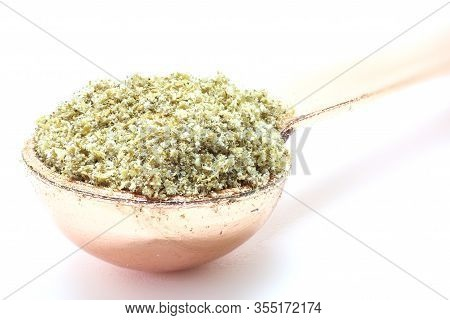 Coriander Seed Isolated In A Spoon. Coriander Seed.