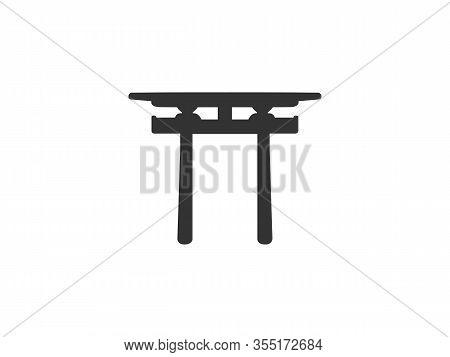 Japanese, Shinto, Torii Icon. Vector Illustration, Flat Design.