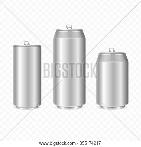 Realistic Detailed 3d Steel Can Set Isolated On A White Background. Vector Illustration Of Blank Met