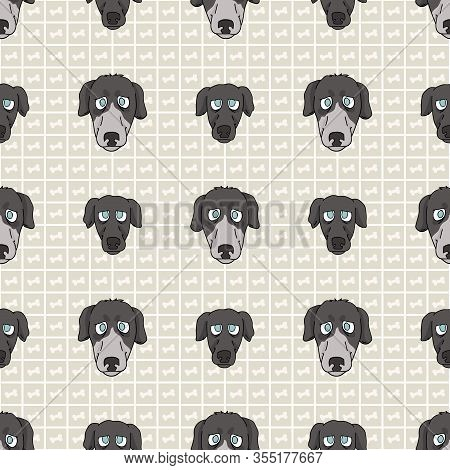 Hand Drawn Cute Greyhouse Race Dog And Puppy Face Seamless Vector Pattern. Purebred Pedigree Fast Pu