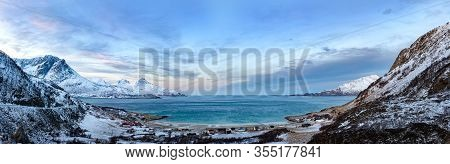 Beautiful Panoramic View Of Fjord And Landscape Near Tromso, Norway