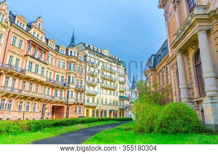 Karlovy Vary (carlsbad) Historical City Centre With Colorful Beautiful Traditional Buildings, Kaiser