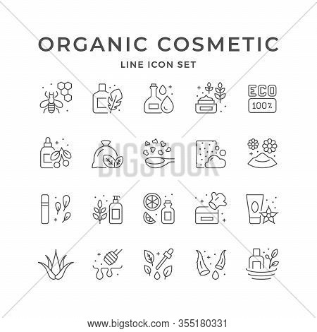 Set Line Icons Of Organic Cosmetic Isolated On White. Natural Product, Aloe Vera, Eco Sign, Essentia