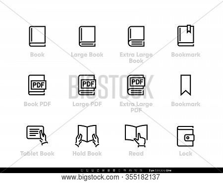 Different Sizes Books Icons. Pdf Documents, Bookmark, Book In Hand, Closed Book, Read Tablet. Editab