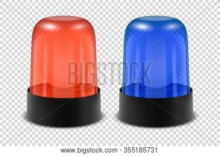 Vector 3d Realistic Red And Blue Police Flasher Siren Icon Set Closeup Isolated On Transparent Backg