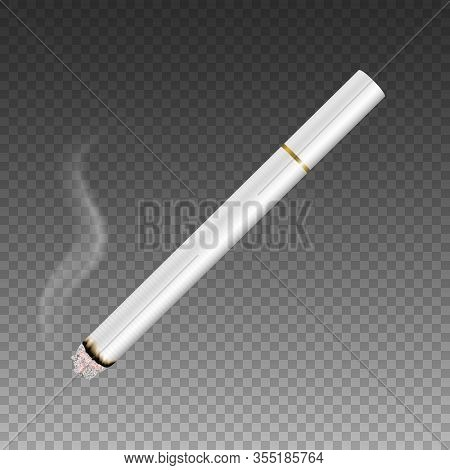 Vector 3d Realistic White Clear Blank Whole Lit Cigarette With Smoke Icon Closeup Isolated On Transp