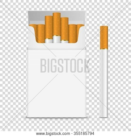 Vector Realistic Opened Clear Blank Cigarette Pack Box And Cigarette Set Closeup Isolated On Transpa