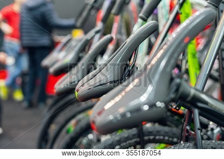 Bicycle Saddle, Rows Of Bicycles In A Sports Shop.